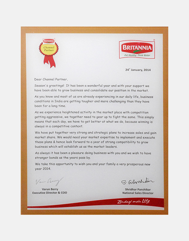 Britania U2013 Appreciation Letter For Channel Partner U2013 2014  Appreciation Letter